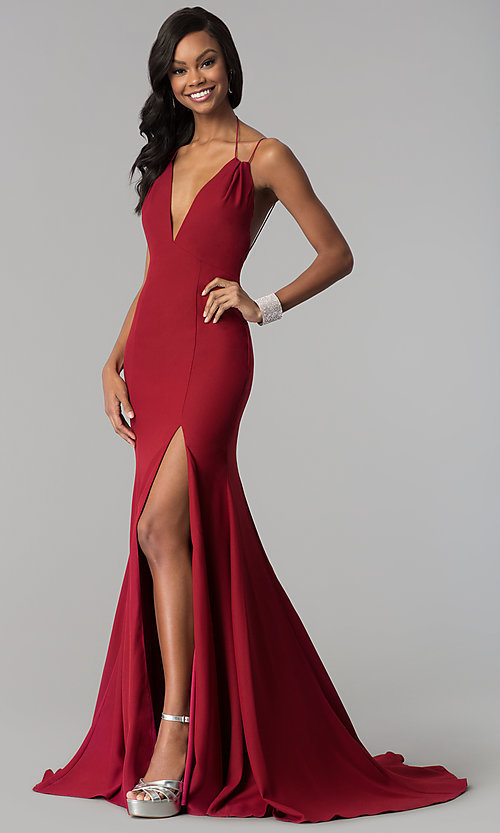 Image of open-back deep-v-neck long prom dress with train. Style: TI-GL-1712P2498 Front Image