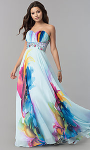 Image of long strapless print prom dress with empire waist. Style: DJ-3362 Front Image