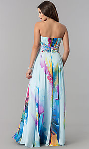 Image of long strapless print prom dress with empire waist. Style: DJ-3362 Back Image