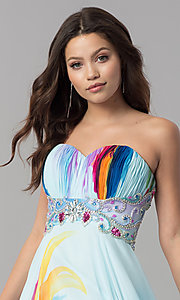 Image of long strapless print prom dress with empire waist. Style: DJ-3362 Detail Image 1