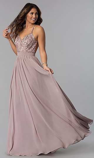 A-Line Long Chiffon Prom Dress with Embroidered Lace