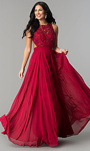 Image of high-neck open-back lace-bodice long prom dress. Style: DQ-9851 Detail Image 1