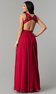Image of high-neck open-back lace-bodice long prom dress. Style: DQ-9851 Back Image