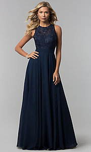 Image of high-neck open-back lace-bodice long prom dress. Style: DQ-9851 Detail Image 3