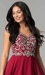 Image of long chiffon prom dress with beaded v-neck bodice. Style: DQ-2216 Detail Image 1