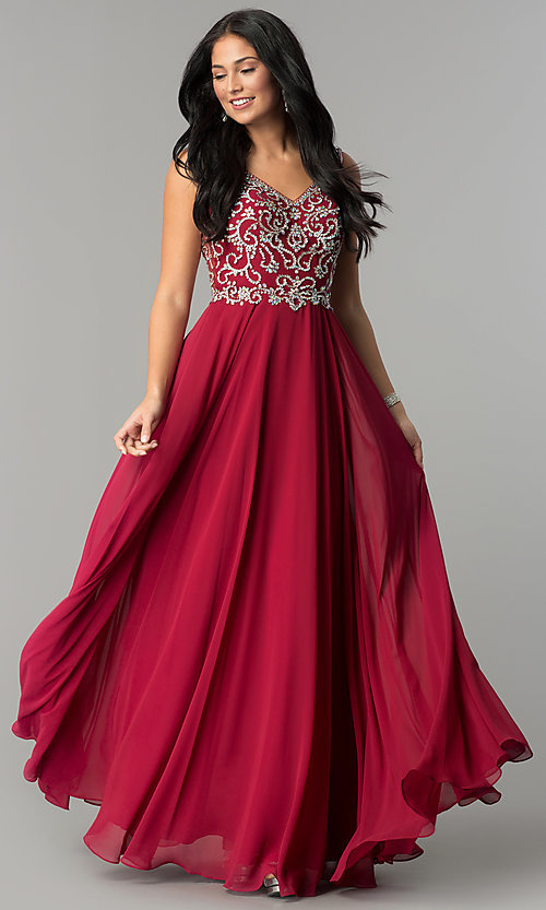 Image of long chiffon prom dress with beaded v-neck bodice. Style: DQ-2216 Front Image