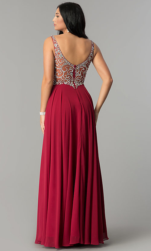 Image of long chiffon prom dress with beaded v-neck bodice. Style: DQ-2216 Back Image
