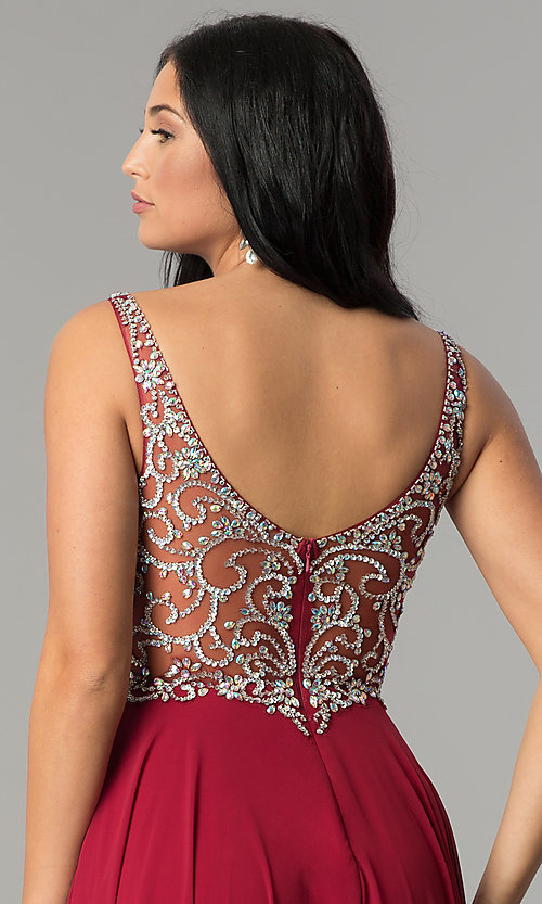 Image of long chiffon prom dress with beaded v-neck bodice. Style: DQ-2216 Detail Image 2