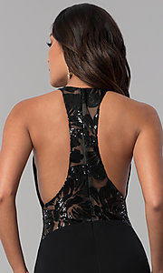 Image of illusion-racerback Zoey Grey long black prom dress. Style: ZG-31129 Detail Image 2