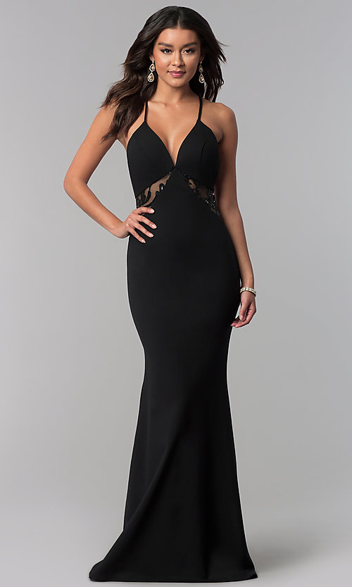 Image of illusion-racerback Zoey Grey long black prom dress. Style: ZG-31129 Front Image