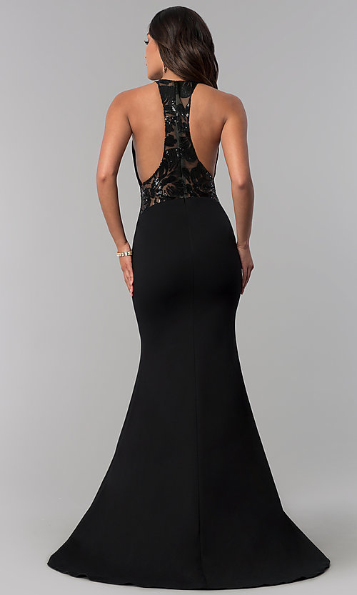 Image of illusion-racerback Zoey Grey long black prom dress. Style: ZG-31129 Back Image