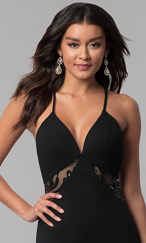 Image of illusion-racerback Zoey Grey long black prom dress. Style: ZG-31129 Detail Image 1
