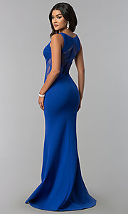 Image of deep-v-neck prom dress with sheer lace back. Style: ZG-31145 Back Image