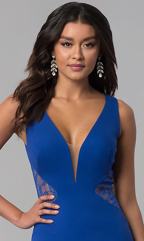 Image of deep-v-neck prom dress with sheer lace back. Style: ZG-31145 Detail Image 1