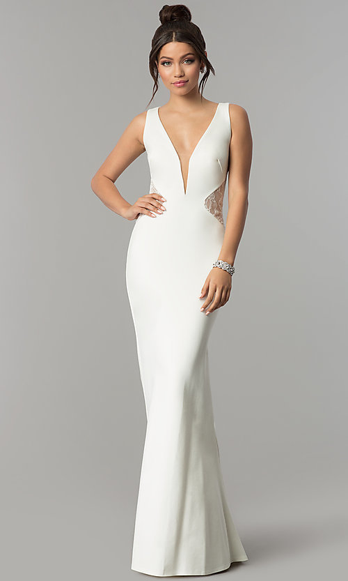 Image of deep-v-neck prom dress with sheer lace back. Style: ZG-31145 Detail Image 2