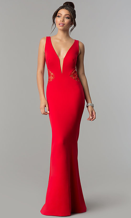 Image of deep-v-neck prom dress with sheer lace back. Style: ZG-31145 Detail Image 3