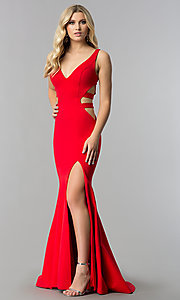 Image of long mermaid prom dress with cut-out sides. Style: ZG-31149 Detail Image 2
