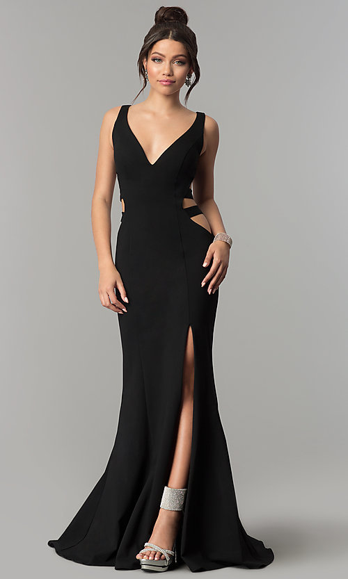 Image of long mermaid prom dress with cut-out sides. Style: ZG-31149 Detail Image 3
