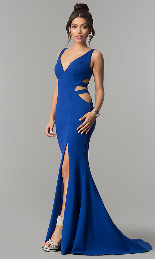 Image of long mermaid prom dress with cut-out sides. Style: ZG-31149 Front Image