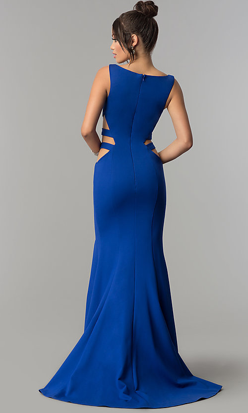 Image of long mermaid prom dress with cut-out sides. Style: ZG-31149 Back Image