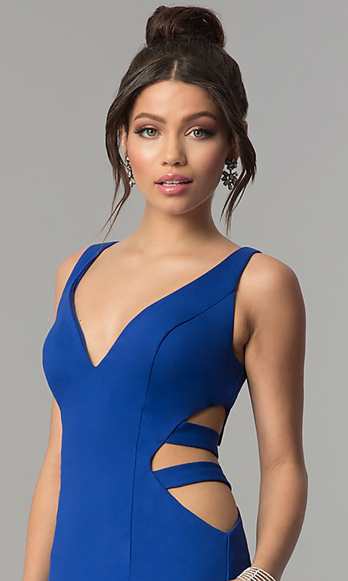 Image of long mermaid prom dress with cut-out sides. Style: ZG-31149 Detail Image 1