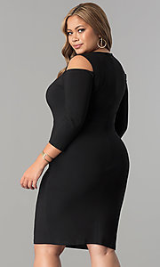 Image of short plus-size 3/4 sleeve cocktail party dress.  Style: MB-MX1364 Back Image