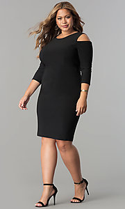 Image of short plus-size 3/4 sleeve cocktail party dress.  Style: MB-MX1364 Detail Image 2
