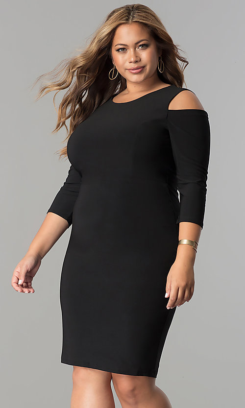 Image of short plus-size 3/4 sleeve cocktail party dress.  Style: MB-MX1364 Detail Image 1