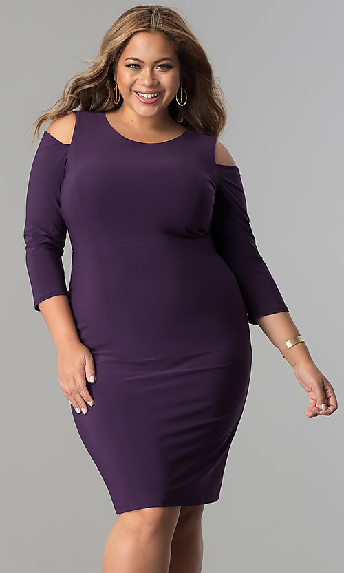 Image of short plus-size 3/4 sleeve cocktail party dress.  Style: MB-MX1364 Detail Image 3