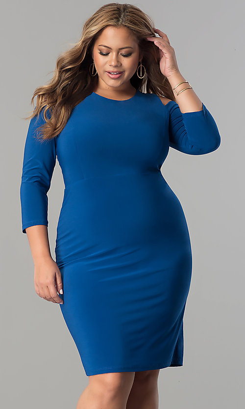 Image of short plus-size 3/4 sleeve cocktail party dress.  Style: MB-MX1364 Front Image