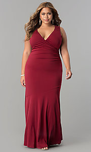Image of plus-size long formal evening dress with lace back. Style: MB-MX1363 Front Image
