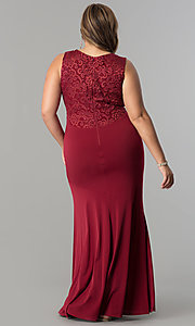 Image of plus-size long formal evening dress with lace back. Style: MB-MX1363 Back Image