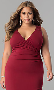 Image of plus-size long formal evening dress with lace back. Style: MB-MX1363 Detail Image 1