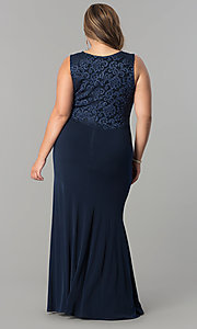 Image of plus-size long formal evening dress with lace back. Style: MB-MX1363 Detail Image 3
