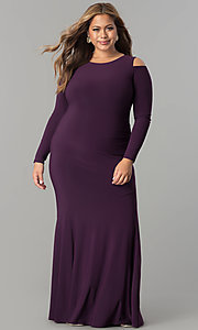 Image of long formal plus-size cold-shoulder evening dress.  Style: MB-MX1361 Detail Image 1