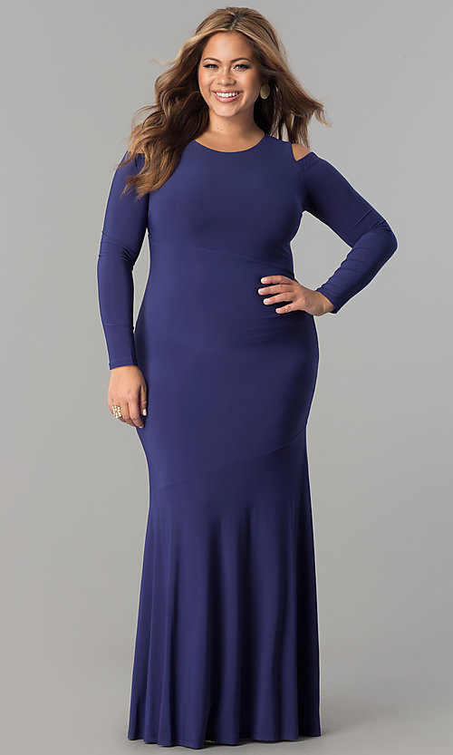 Long Formal Plus-Size Cold-Shoulder Evening Dress