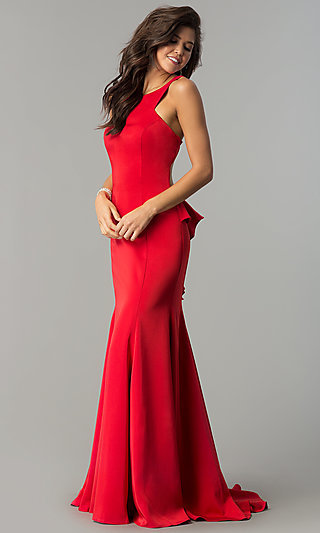 Ruffled-Bustle Long Prom Dress with Cut-Out Back
