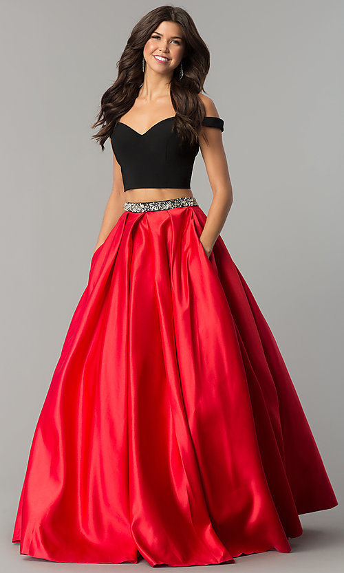 861db418f Image of off-the-shoulder long two-piece prom dress with red skirt