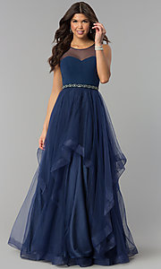 Image of illusion-sweetheart long tulle a-line prom dress. Style: PO-8134 Detail Image 3