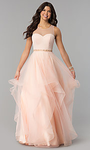 Image of illusion-sweetheart long tulle a-line prom dress. Style: PO-8134 Front Image