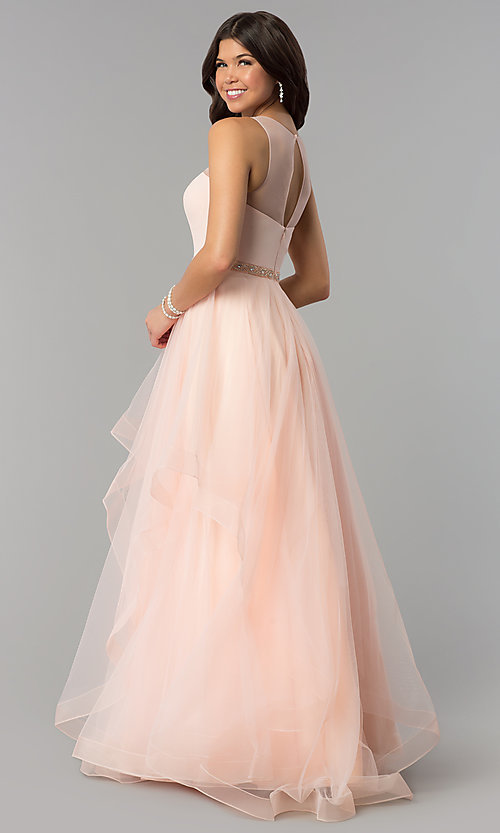 Image of illusion-sweetheart long tulle a-line prom dress. Style: PO-8134 Back Image