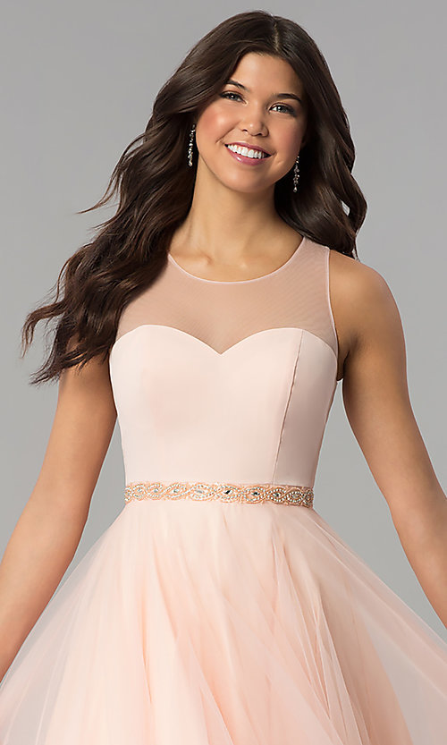 Image of illusion-sweetheart long tulle a-line prom dress. Style: PO-8134 Detail Image 1