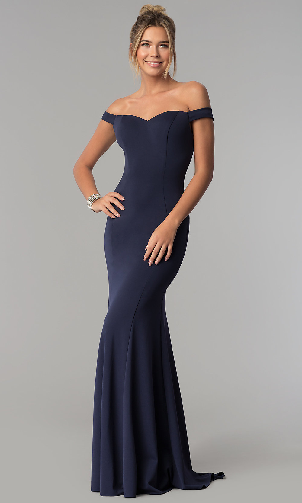 70f79b77a4 Off-the-Shoulder Long Formal Dress with Mermaid Skirt