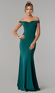 Image of floor-length off-the-shoulder mermaid formal dress. Style: PO-8160 Detail Image 1