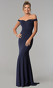 Image of floor-length off-the-shoulder mermaid formal dress. Style: PO-8160 Detail Image 2