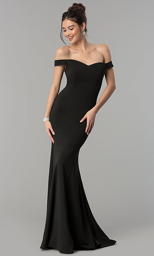 Image of floor-length off-the-shoulder mermaid formal dress. Style: PO-8160 Front Image