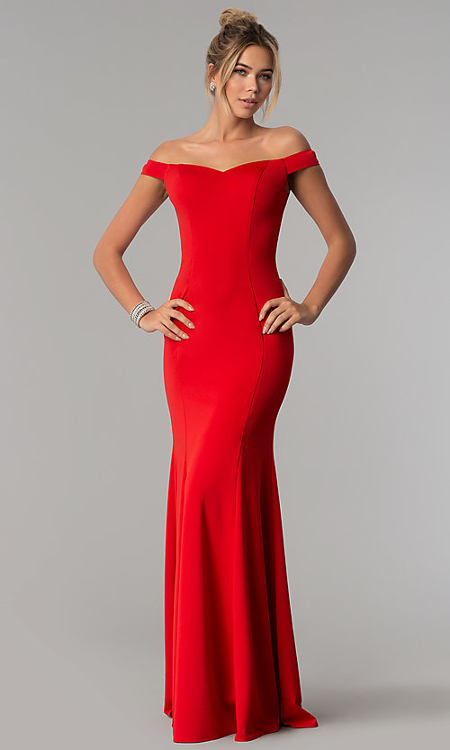 Image of floor-length off-the-shoulder mermaid formal dress. Style: PO-8160 Detail Image 3
