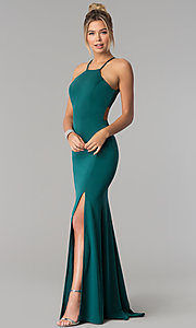Image of high-square-neck jersey long prom dress with train. Style: PO-8156 Detail Image 1