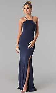 Image of high-square-neck jersey long prom dress with train. Style: PO-8156 Detail Image 2