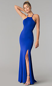 Image of high-square-neck jersey long prom dress with train. Style: PO-8156 Detail Image 3
